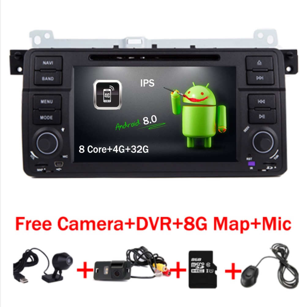 2018 In Stock Car DVD Player for BMW E46 Navigation Android 8.0 Wifi 4G 3G GPS Bluetooth Radio RDS USB SD Free 8GB SD Map DVR