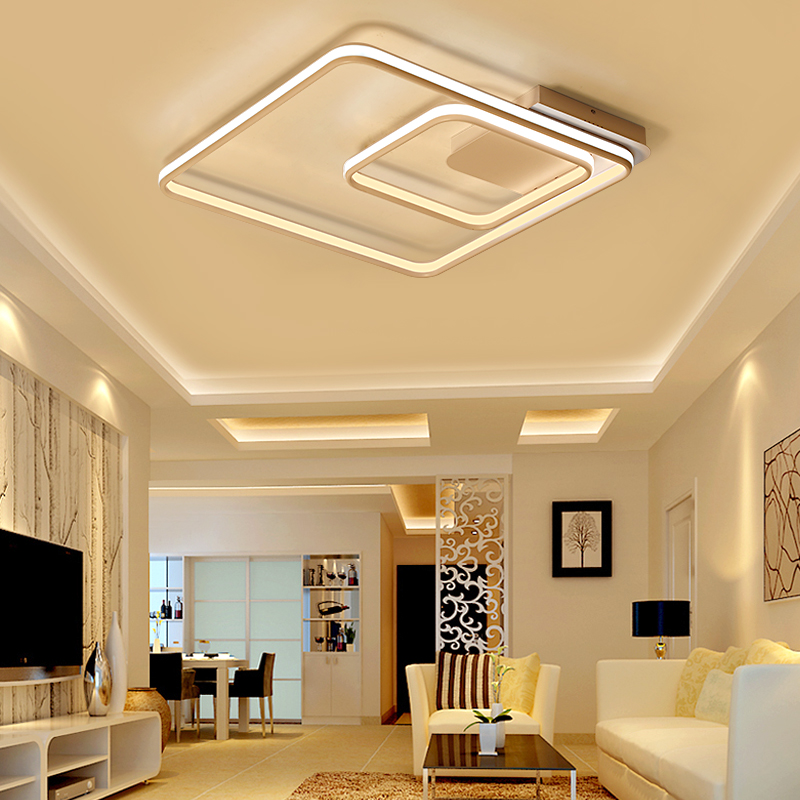 NEO Gleam Square Rings Living Room Bedroom Study Room Led Ceiling Lights Modern Led Double Glow Aluminum Ceiling Lamp Fixtures in Ceiling Lights from Lights Lighting