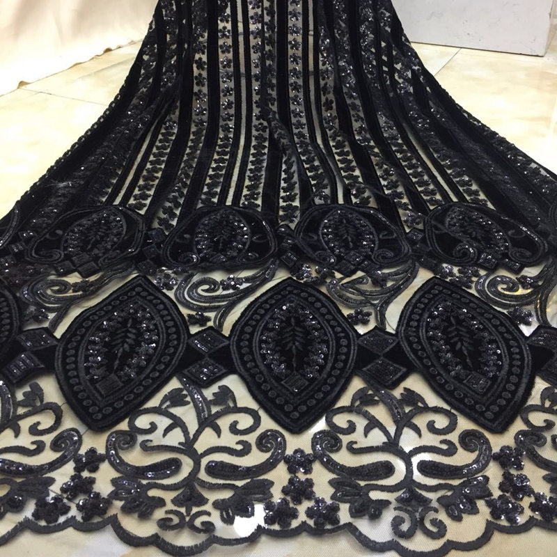 latest black african tull lace fabrics High Quality 2018 velvet lace fabric with sequins for wedding