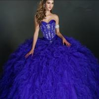 Ruffled Ball Gown Royal Blue Quinceanera Dresses 2016 Corset Back Pageant 15 years dress vestido de debutante
