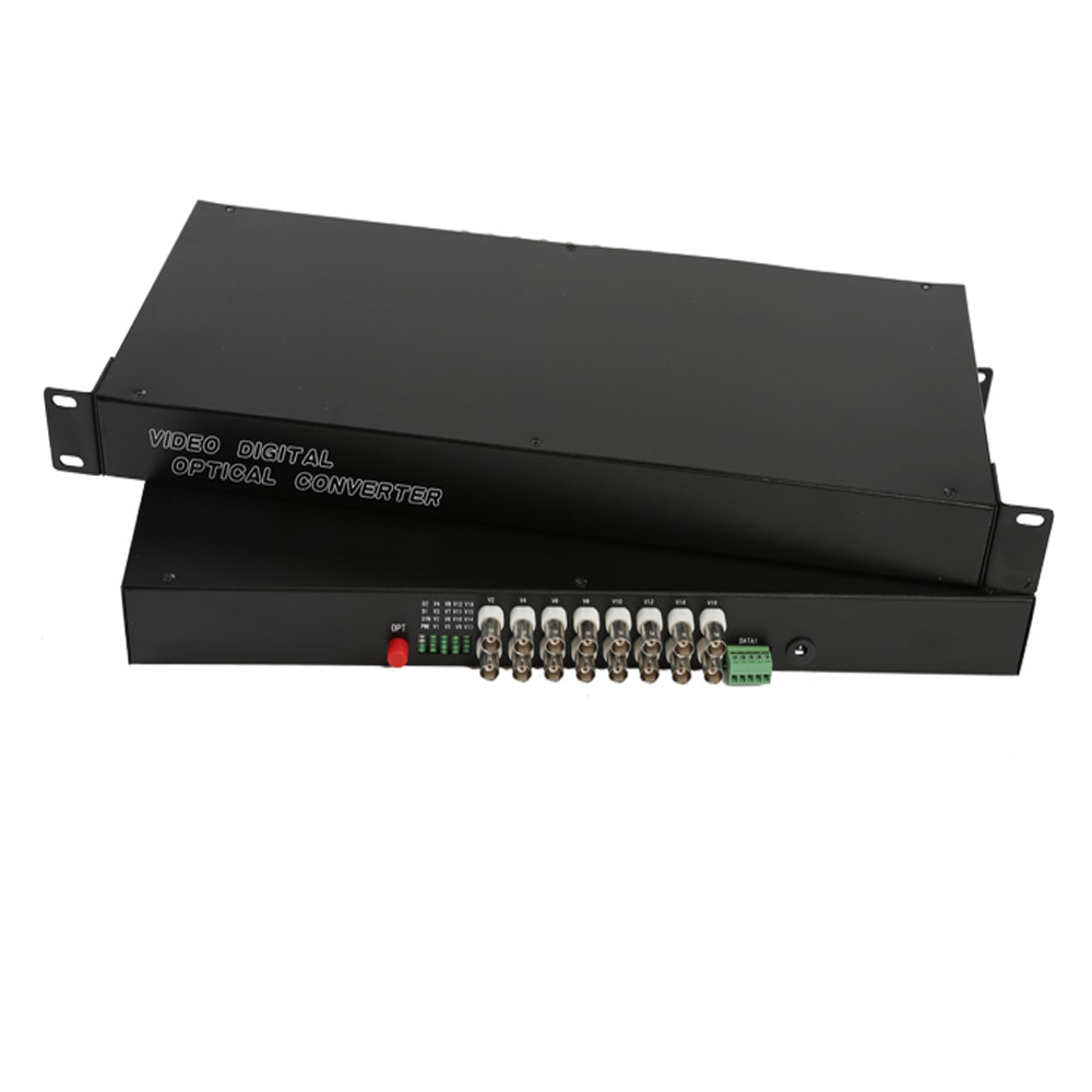 16 CH Video Fiber Optical Media Converters -16 BNC Transmitter Receiver RS485 Data Single mode 20Km 19 inch Rack For CCTV