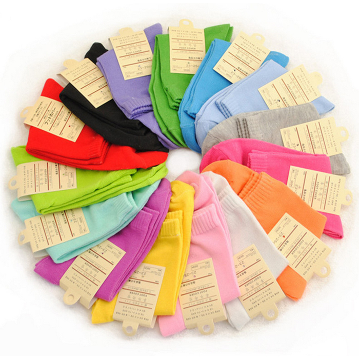 Women Cotton socks solid style casual Cute Candy 10pairs/lot mix color hot sale in autumn winter 2017 new fashion