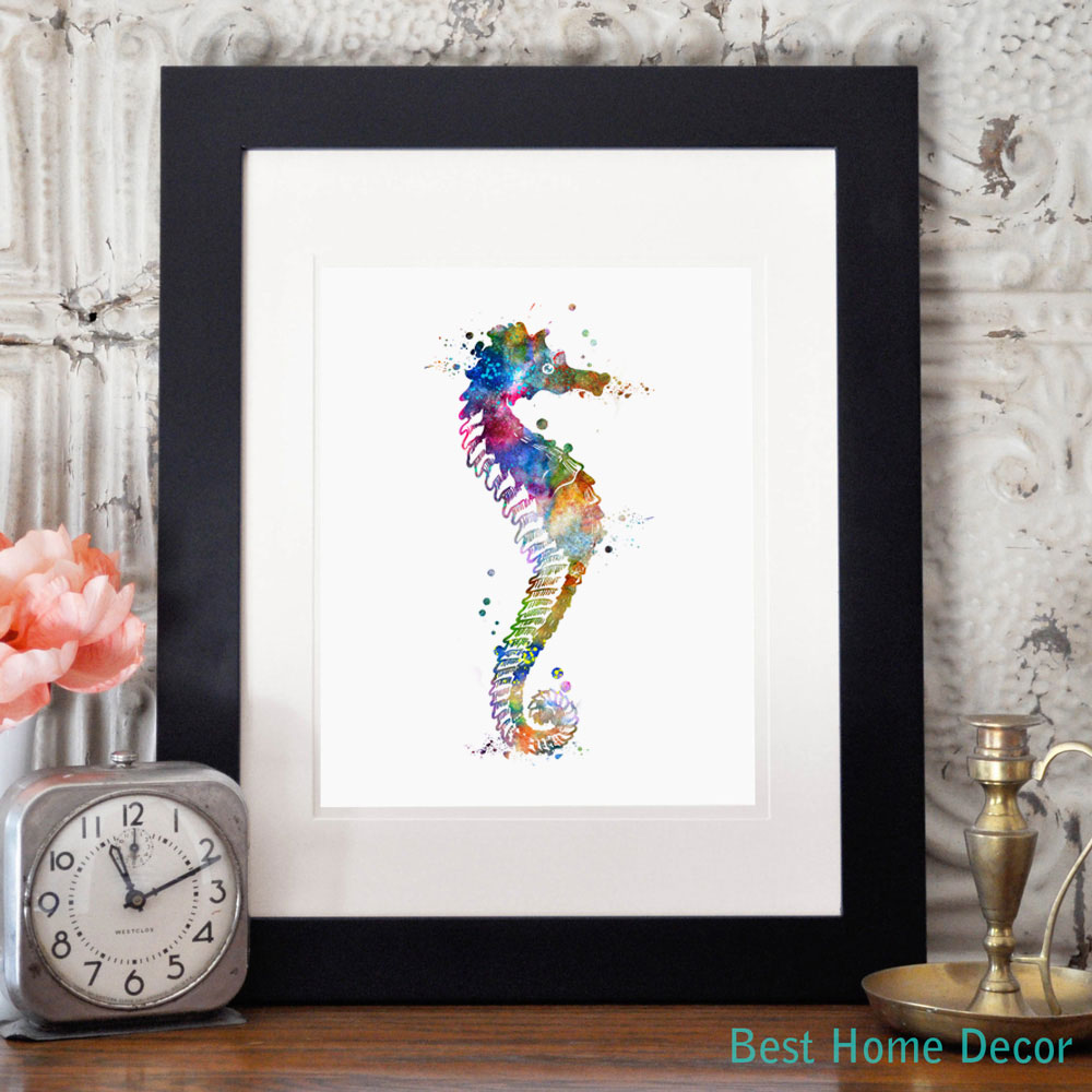 Seahorse watercolor art poster seahorse wall art horse for Fine home decorations