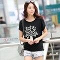 5 цветов лето женщины о-образным шею большой размер короткие Batwing рукавом свободного покроя модальные футболки топы женский основные тис с картины 802