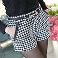 Xadrez de Lã Shorts Mulheres Novo 2016 Moda Primavera Outono Baixo Bolso De Couro da cintura Shorts Casual Roupas Femininas Plus Size S XXL