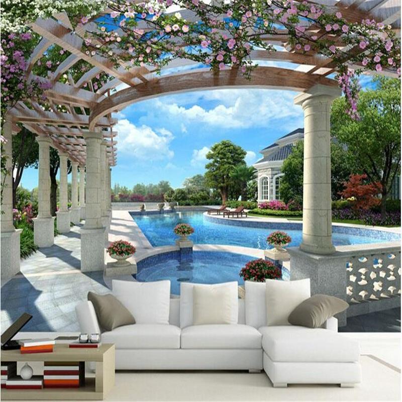 Muurschildering Behang voor Woonkamer Villa Tuin met Zwembad Muur ...