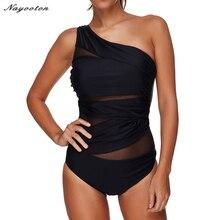 Kadınlar seksi tek parça mayo 2019 siyah delikli yaz beachwear dantel bir omuz mayo mayo Bodysuit artı boyutu 3XL