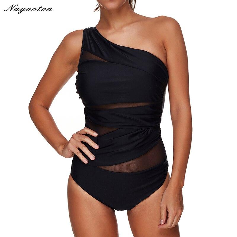 Женский сексуальный цельный купальник черного цвета на одно плечо, летняя пляжная одежда, купальный костюм размера плюс 3XL
