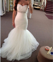 Unique Wedding Dresses 2017 Sweetheart Neckline Strapless Tulle With Beaded Waistline Wedding Dress New