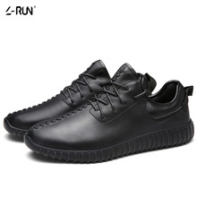 Fashion Footwear Men's Flats Comfortable Breathable Casual Summer Shoes Male PU Leather Trainers Lace-up Classic Black Shoes