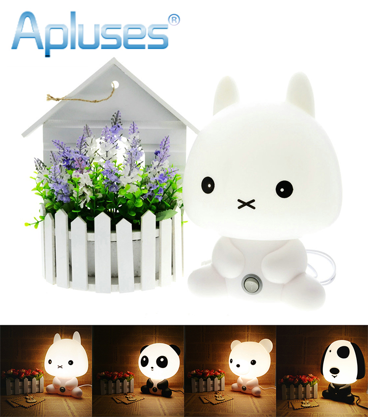 Desk Night Lights Baby Room Panda/Rabbit/Dog/Bear Cartoon Night Light Kids Bed Lamp Sleeping Night Lamp Table Lamp With Bulb цена