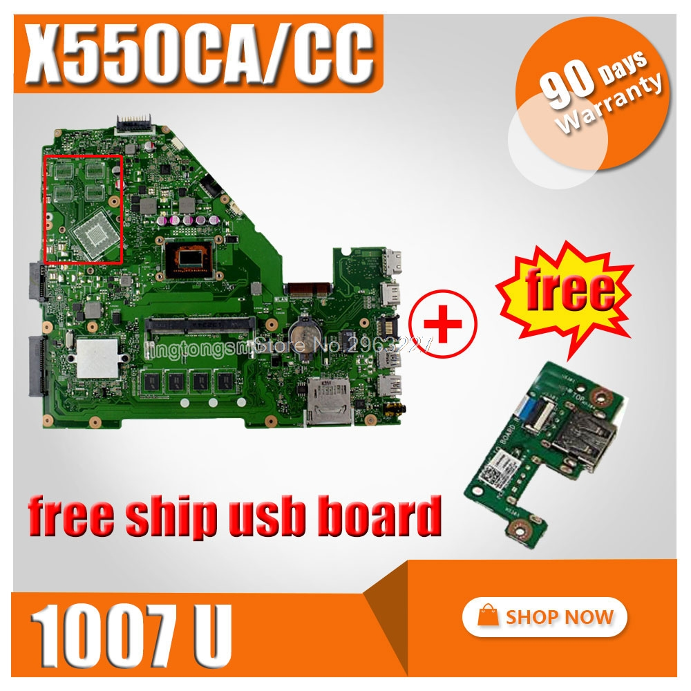 цены Original for ASUS Laptop motherboard X550CA X550CC REV2.0 Mainboard 1007 CPU Integrated fully tested good price free shipping
