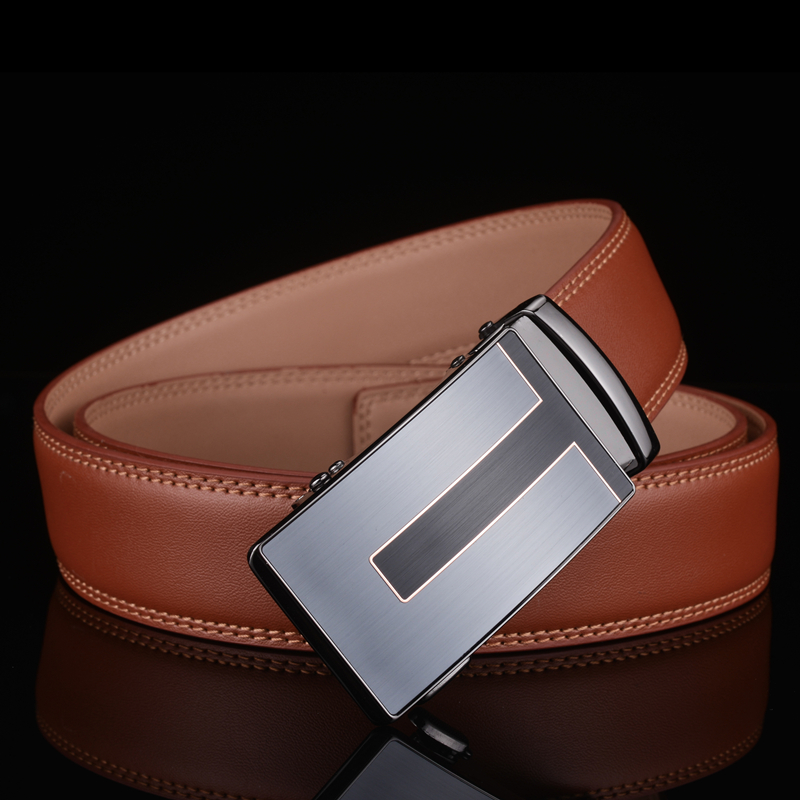 Plyesxale Leather   Belt   Men 2018 High Quality Designer Mens   Belts   Luxury Automatic Buckle Brown Business Casual Waist   Belt   B3