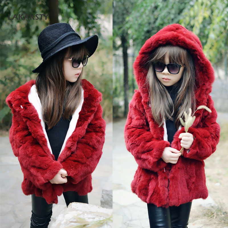 LAKAKSTY Brand Real Fur Coat High Quality Fashion Kids Girls Winter Clothes Rubbit Fur Warm Jacket Children's Hooded Outerwear 2017 winter kid super large raccoon fur collar jacket girls pink hooded cotton jacket high quality kids thick warm coat 17n1120