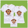 Lucky Monkey cartoon Family fitted summer 2016 new short-sleeved T-shirt for mother & father & baby  family matching outfits