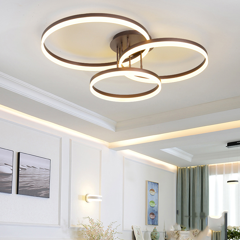 New Arrival Circle rings designer Modern led ceiling lights lamp for living room bedroom Remote control ceiling lamp fixtures circle