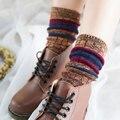 Nueva manera de la alta calidad del otoño/invierno calcetines pila raya de la Vendimia para las mujeres/mujeres/muchacha/la señora, 100% algodón hasta la rodilla calcetines de tobillo
