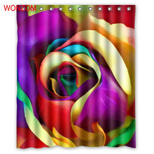 WONZOM Colorful Flower Shower Bathroom Waterproof Accessories Curtains For Decor Modern Bath Curtain with 12 Hooks Gift