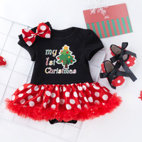 3PCS Newborn Christmas Clothes Baby Girls Clothing Set My First Christmas Baby Clothes Set Ruffle Dress New Born Baby Clothing