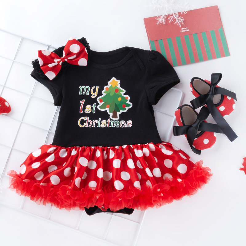 3PCS Newborn Christmas Clothes Baby Girls Clothing Set My First Christmas Baby Clothes Set Ruffle Dress New Born Baby Clothing