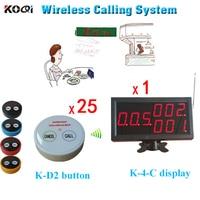 Wireless Kellner Service Anruf Pager Tisch System 1 Desktop Led anzeige Spiel 25 stücke Presse Summer-in Pager aus Handys & Telekommunikation bei