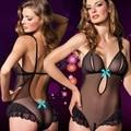 Lingerie sexy mulheres quentes preto Perspectiva Gaze sexy teddy abrir crotch bra conjunto de lingerie lenceria sexy costume erotic lingerie