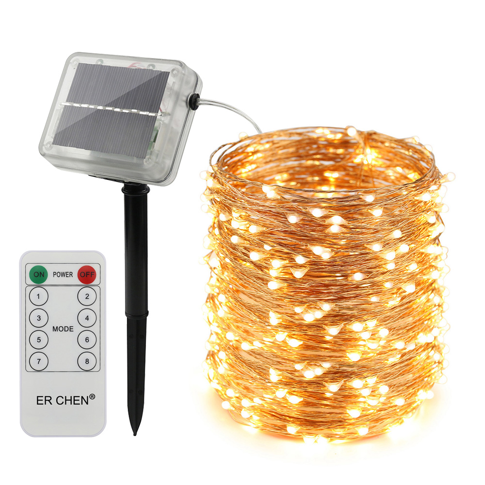 Hot New Solar powered LED string lights with remote controller 10M/20M/30/50MFor Xmas Tree Garland Fairy String Lights Chain Hom
