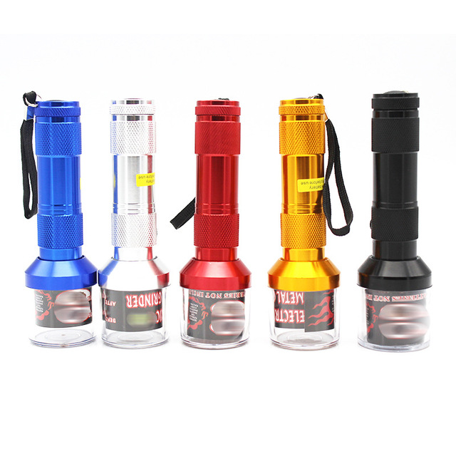 Electric Torch Shape Grinder Crusher Crank Leaf Tobacco Smoke Spice Herb Muller Machine Weed Herb Tobacco Grinder Party Gifts
