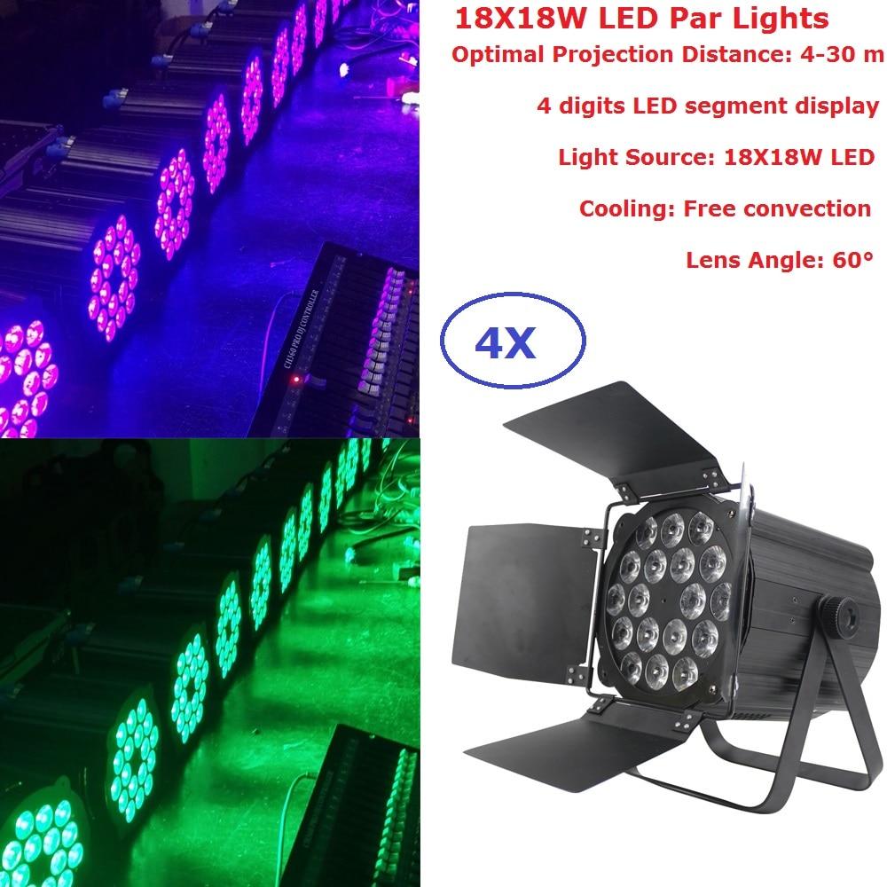 En aluminium Plat Par 18X18 W RGBWAP 6 Couleurs DMX Étape Par feux Haute Puissance Lumières Professionnel de Lavage De L'étape Pour Partie discothèques