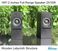 IWISTAO HIFI 2 Inches Full Range Speaker Wooden Cabinet 2X10W 84dB Neodymium Speaker Unit Labyrinth Structure for Tube Amplifier
