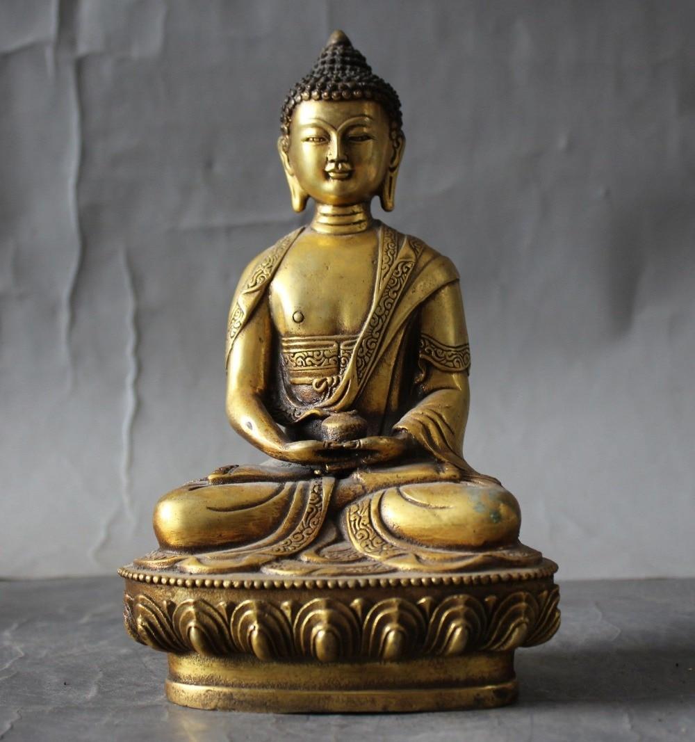 Old Tibet buddhism Fane bronze gilt Sakyamuni Shakyamuni Amitabha Buddha statueOld Tibet buddhism Fane bronze gilt Sakyamuni Shakyamuni Amitabha Buddha statue