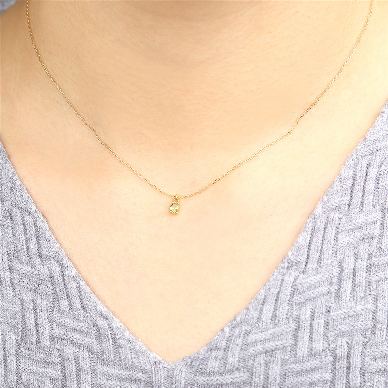 AINUOSHI 18 K or péridot pendentif collier femme Rose/jaune or fiançailles mariage anniversaire chaîne collier bijoux - 5