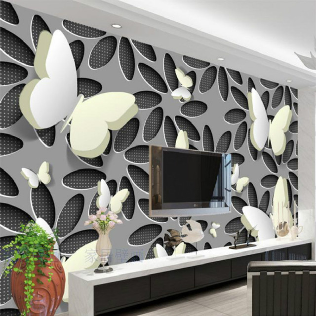 Custom 3d Wallpapers For Wall 3d Butterfly Flower