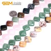 16mm Diagonaal Vierkante Diverse Materiaal Natuurlijke Gem Stenen Platte Kralen Voor Sieraden Maken Kralen DIY 15