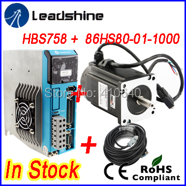 New !! GENUINE Leadshine Easy Servo Drive HBS758 AC 75V input  and Hybrid Servo Motor 86HBM80-01-1000 output 8 NM SOLD TOGETHER nema23 3phase closed loop motor hybrid servo drive hbs507 leadshine 18 50vdc new original