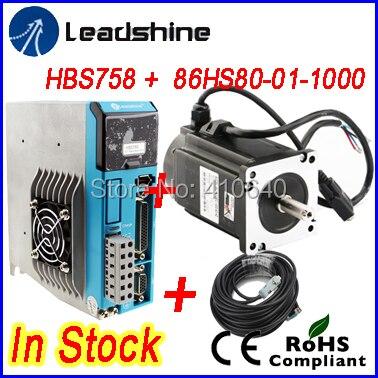 New !! GENUINE Leadshine Easy Servo Drive HBS758 AC 75V input  and Hybrid Servo Motor 86HBM80-01-1000 output 8 NM SOLD TOGETHER
