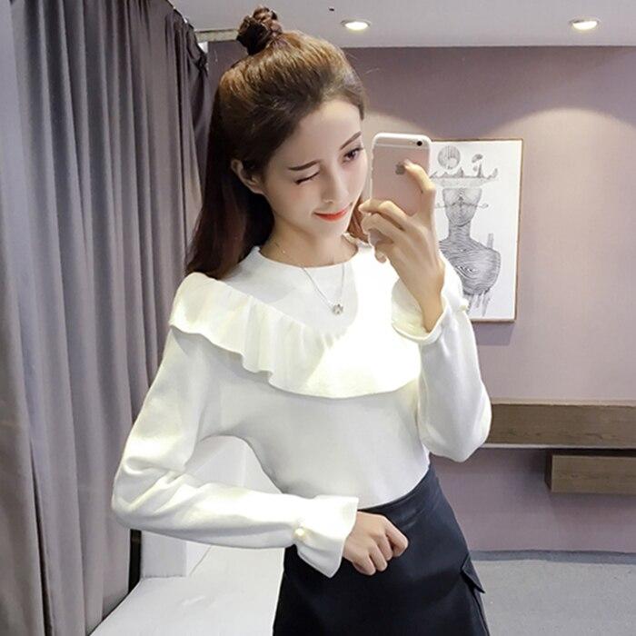 Nueva versión de suelta de manga larga Pullover sweater mujeres espesó trompeta mangas tejer Camisa de La Blusa con volantes