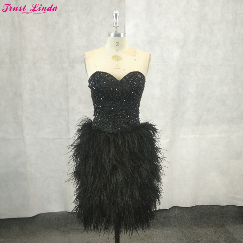 Luxury Black Crystal Beaded Short   Bridesmaid     Dresses   Sexy Sweetheart Feathers Formal Party Gowns Women Prom Red Carpet Gowns