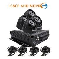 Gratis Verzending 4 Kanaals GPS Track 1080 P AHD 256 GB SD Auto DVR MDVR Video Recorder 4 stks IR InCar Dome Auto Camera voor Truck van Bus