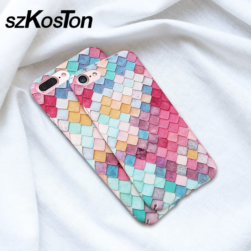 Sexy Fashion Colorful 3D Scales <font><b>Phone</b></font> Cases For iPhone 7 <font><b>7S</b></font> Plus Case Korean Girls Mermaid Cover For <font><b>Apple</b></font> iPhone 6 6 Plus