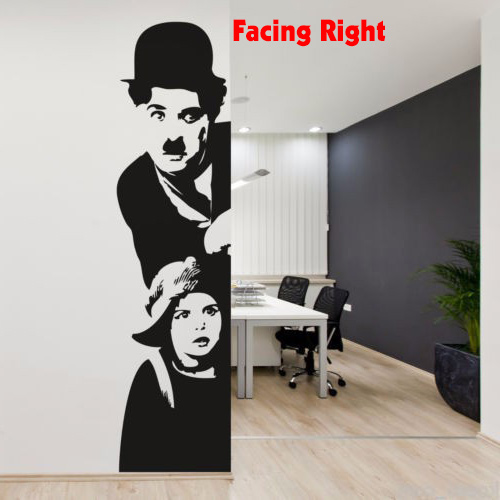 POOMOO Wall Decor CHARLIE CHAPLIN CINEMA Wall Art Sticker Decal DIY Home Decoration Wall Mural Removable Bedroom sticker