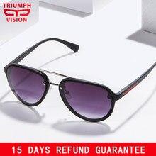 55a516a5f7acb VISÃO Óculos De Sol Dos Homens de Luxo Da Marca Designer Pilot Oculos  TRIUNFO UV400 Matte Shades Quadro Gradiente Óculos de Sol .