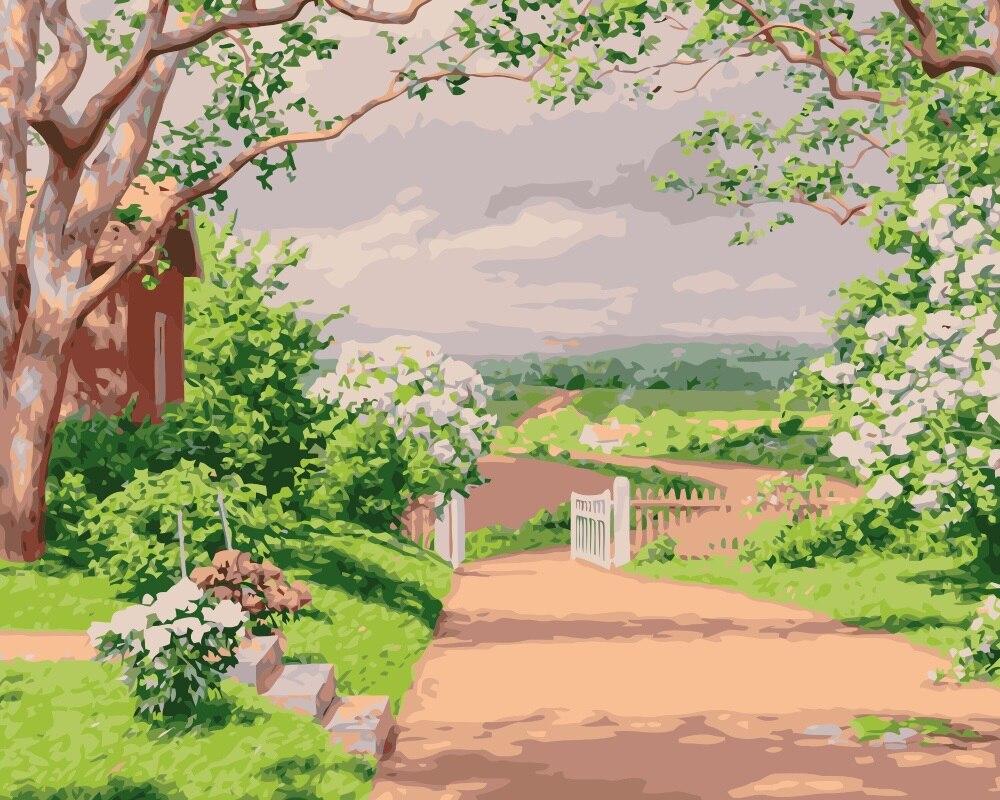 MaHuaf i089 summer cottage house landscape painting