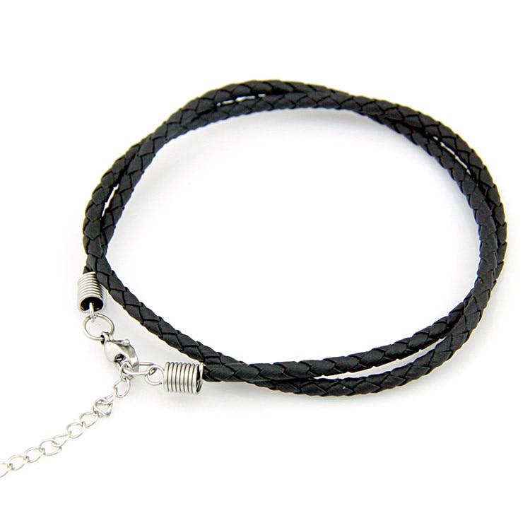 8dd6c1f36a10 ⃝Hebilla de titanio negro collar de cuero con cadena scfv colgante ...