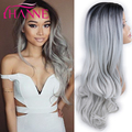 New Arrival Black to grey Ombre Synthetic Wigs For Black Women ombre grey body wave Heat Resistant Freetress Hair Synthetic Wig