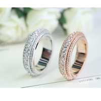 TYME fashion Design Luxury White crystal silver Rings For Women Female rose gold color love ring men wedding jewelry accessories