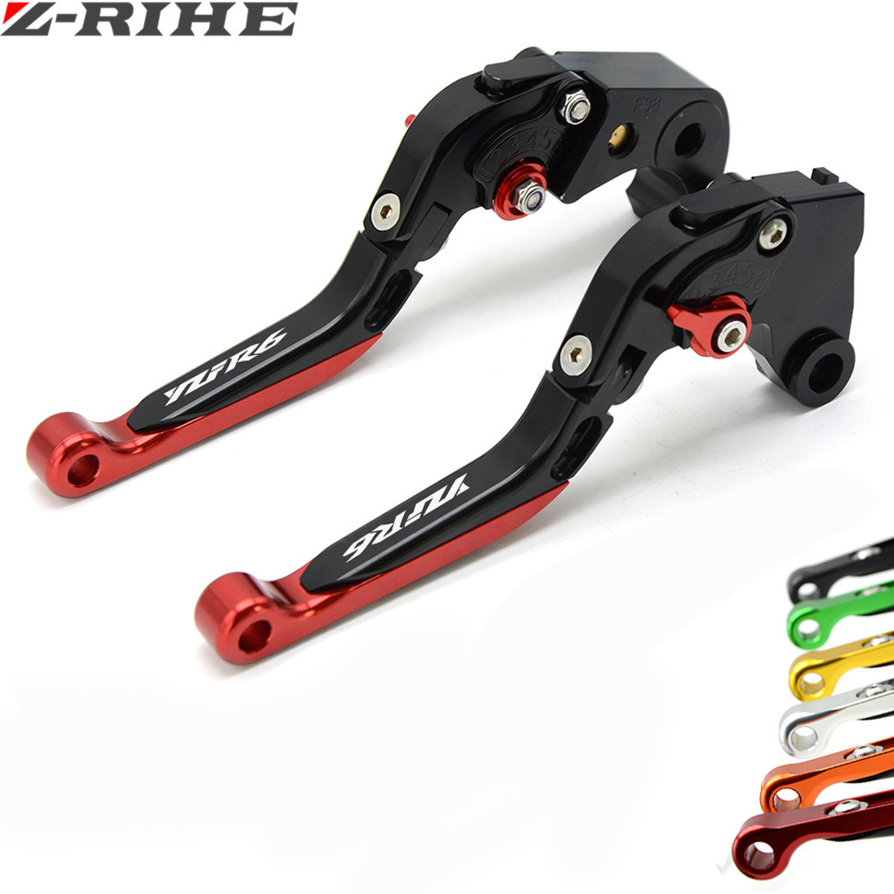 CNC Motorcycle Accessories Adjustable Folding Extendable Brake Clutch Levers for yamaha R6 YZF R6 YFZ-R6 2005 2006 2007-2016 with logo yzf r1 black titanium adjustable folding motorcycle brake clutch levers for yamaha yzf r1 2004 2005 2006 2007 2008