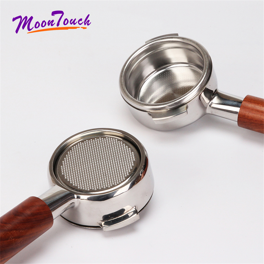Stainless Steel Coffee Machine Bottomless Filter Holder Portafilter Acid Branch Wooden Handle For Nuova Professional Accessory
