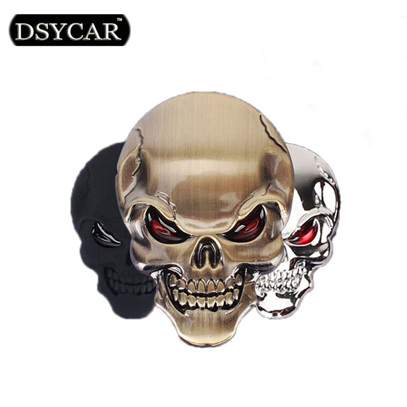 DSYCAR 3D Metal Skull Car Sticker Logo Emblem Badge Decals Car Styling for Fiat Bmw Ford Lada Audi opel volvo Honda Toyota Benz