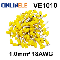 200pcs/lot Crimp Terminal  VE1010  tube pre insulating terminal Bootlace Ferrules  AWG18 1.0mm^2 Brass Lead length 10mm